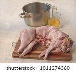 raw rabbit carcass on the... | Shutterstock . vector #1011274360