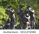 Small photo of SAVVANAH GEORGIA USA JUNE 27 2016: Savannah's Haitian Monument commemorates the contribution of the Chasseurs-Volontaires de Saint-Domingue to the fight for an independent America