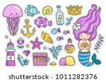 mermaid  jellyfish  cute sea... | Shutterstock .eps vector #1011282376