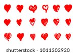set of hand drawn red grunge... | Shutterstock .eps vector #1011302920