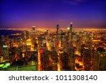 chicago skyline at night | Shutterstock . vector #1011308140