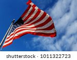 Flag Usa Over Blue Sky...