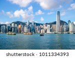 hong kong skyline and victoria... | Shutterstock . vector #1011334393