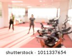 Small photo of Blurred of women are aerobic dance and fitness tool at the indoor health club.Sport Gym concept.