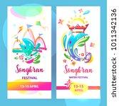 songkran festival. freehand... | Shutterstock .eps vector #1011342136