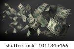 banknote 100 dollar flying 3d... | Shutterstock . vector #1011345466