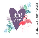 greeting card with a picture of ... | Shutterstock .eps vector #1011351640