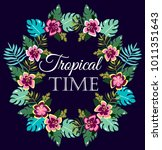 vector image with tropical... | Shutterstock .eps vector #1011351643