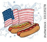 Doodle style hot dog with bun and condiments in front of a colorful American flag sketch in vector format - stock vector