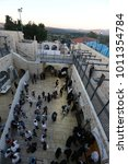 Small photo of MERON, ISRAEL - Jun 22, 2017: Jews gather to dance in the courtyard of the tomb of Rabbi Shimon Bar Yochai in Meron celebrating Rosh Chodesh Tammuz (first of the month, monthly celebration)