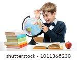 portrait of a happy schoolboy... | Shutterstock . vector #1011365230