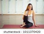 attractive caucasian girl... | Shutterstock . vector #1011370420