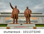 Small photo of PYONGYANG,NORTH KOREA-OCTOBER 13,2017: Monument to Kim Il Sung and Kim Jong Il on Mansu Hill Grand Monument