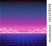 retro sci fi background with... | Shutterstock .eps vector #1011378298
