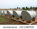 steel pipelines and valves  ... | Shutterstock . vector #1011380950