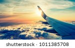 flying and traveling  view from ... | Shutterstock . vector #1011385708