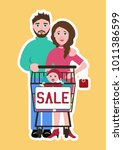 cheerful family of shoppers... | Shutterstock .eps vector #1011386599