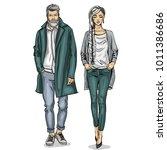 vector woman and man | Shutterstock .eps vector #1011386686
