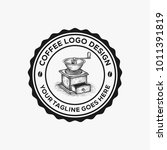 hand drawn coffee grinder logo... | Shutterstock .eps vector #1011391819