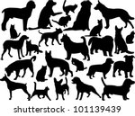 Stock vector cats and dogs silhouette vector 101139439