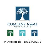 vector logo design of oak tree  ... | Shutterstock .eps vector #1011400273