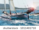 sailing boat race  catamaran in ... | Shutterstock . vector #1011401710