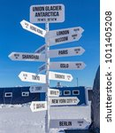 signpost at union glacier... | Shutterstock . vector #1011405208