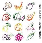 vector set of fresh fruits... | Shutterstock .eps vector #101141428