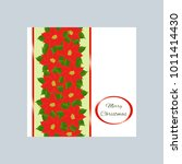 garland from poinsettii  card.... | Shutterstock . vector #1011414430