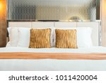 comfortable pillow on bed...   Shutterstock . vector #1011420004