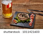 homemade sausage with garlic... | Shutterstock . vector #1011421603