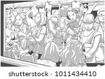 illustration of crowded metro ... | Shutterstock .eps vector #1011434410