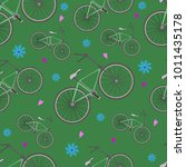 seamless pattern from bicycles  ...   Shutterstock .eps vector #1011435178