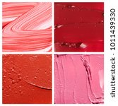 textures of pink and red creamy ... | Shutterstock . vector #1011439330
