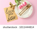 beautiful table setting with... | Shutterstock . vector #1011444814