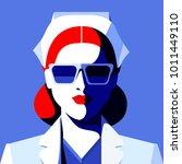 doctor or nurse. portrait of...   Shutterstock .eps vector #1011449110