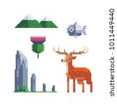 pixel art icons. 80s style.... | Shutterstock .eps vector #1011449440