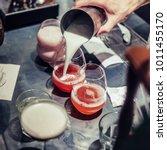 professional bartender making... | Shutterstock . vector #1011455170