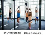 diverse group of fit people... | Shutterstock . vector #1011466198