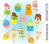 k cute kawaii ice cream... | Shutterstock .eps vector #1011467173