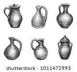 set of different clay jugs | Shutterstock . vector #1011472993