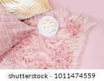 stylish pink pillows and cup of ... | Shutterstock . vector #1011474559