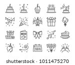 happy birthday party line icon... | Shutterstock .eps vector #1011475270