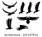 set of heraldry black birds for ...