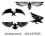 Постер, плакат: Set of heraldry eagles