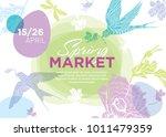 spring fair. easter and spring ... | Shutterstock .eps vector #1011479359