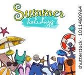 set of beach summer holidays... | Shutterstock .eps vector #1011480964
