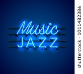 neon music jazz signboard on... | Shutterstock .eps vector #1011482386