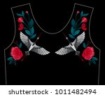 embroidery stitches with asian... | Shutterstock .eps vector #1011482494