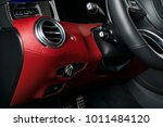 Stock photo ac ventilation deck in luxury modern car interior modern car interior details with red and black 1011484120